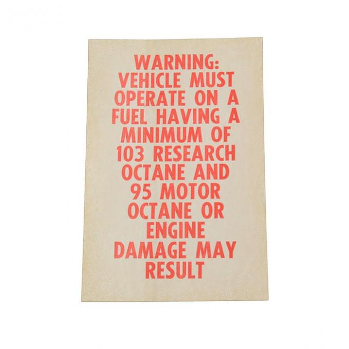 Corvette Decal, Octane Warning L88, 1967-1969