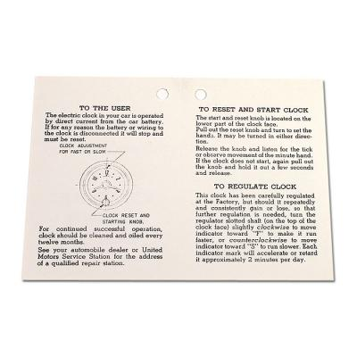 Corvette Card, Clock Instructions, 1953-1957