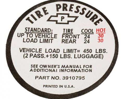 Corvette Decal, Tire Pressure-Glovebox, 1967